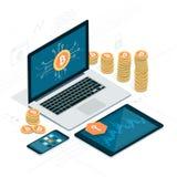 Bitcoin e cryptocurrency Fotografie Stock Libere da Diritti