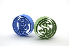 Bitcoin e dólar 3d Imagem de Stock Royalty Free