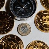 Bitcoin e dinheiro polonês foto de stock