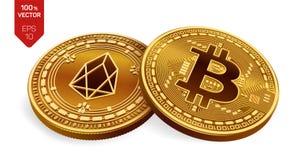 Bitcoin e EOS moedas 3D físicas isométricas Moeda de Digitas Cryptocurrency Moedas douradas com bitcoin e símbolo do EOS isoladas Imagens de Stock