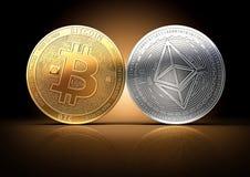 Bitcoin e Ethereum combatte per la direzione su un fondo scuro delicatamente acceso Immagine Stock