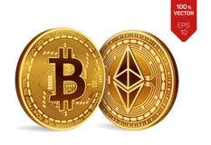 Bitcoin e ethereum moedas 3D físicas isométricas Moeda de Digitas Cryptocurrency Moedas douradas com bitcoin e Foto de Stock