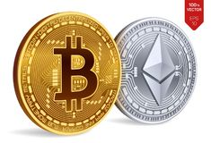Bitcoin e ethereum moedas 3D físicas isométricas Moeda de Digitas Cryptocurrency Moedas douradas de Ethereum do bitcoin e da prat Fotos de Stock