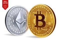 Bitcoin e ethereum moedas 3D físicas isométricas Moeda de Digitas Cryptocurrency Moedas douradas de Ethereum do bitcoin e da prat Imagem de Stock