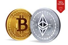 Bitcoin e ethereum moedas 3D físicas isométricas Moeda de Digitas Cryptocurrency Moedas douradas de Ethereum do bitcoin e da prat Imagens de Stock Royalty Free