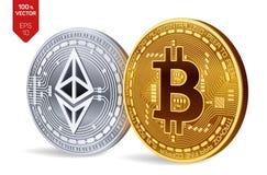 Bitcoin e ethereum moedas 3D físicas isométricas Moeda de Digitas Cryptocurrency Moedas douradas de Ethereum do bitcoin e da prat Foto de Stock Royalty Free