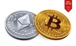 Bitcoin e ethereum moedas 3D físicas isométricas Moeda de Digitas Cryptocurrency Moedas douradas de Ethereum do bitcoin e da prat Foto de Stock