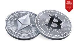 Bitcoin e ethereum moedas 3D físicas isométricas Moeda de Digitas Cryptocurrency Moedas de prata com bitcoin Foto de Stock Royalty Free