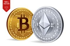Bitcoin e ethereum monete fisiche isometriche 3D Valuta di Digital Cryptocurrency Monete dorate e d'argento con bitcoin Immagini Stock