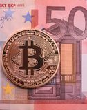 Bitcoin e Euro Foto de Stock Royalty Free