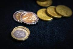 Bitcoin e euro- moeda Fotografia de Stock