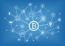 Bitcoin e fondo dell'illustrazione del blockchain royalty illustrazione gratis