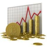 Bitcoin e grafico Immagine Stock