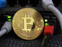 Bitcoin e rede fotografia de stock
