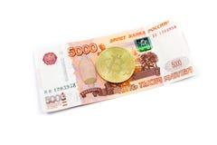 Bitcoin e rubli Fotografia Stock