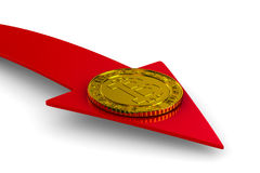 Bitcoin e seta da moeda no fundo branco 3D isolado Fotografia de Stock