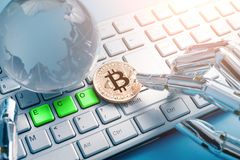 Bitcoin with eco concept Royalty Free Stock Photo