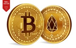 Bitcoin ed EOS monete fisiche isometriche 3D Valuta di Digital Cryptocurrency Monete dorate con bitcoin ed il simbolo di EOS isol Illustrazione di Stock