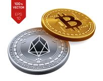 Bitcoin ed EOS monete fisiche isometriche 3D Valuta di Digital Cryptocurrency Moneta d'argento con il simbolo di EOS e moneta dor Illustrazione Vettoriale