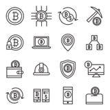 Bitcoin ed icone di estrazione mineraria Fotografia Stock