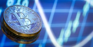 Bitcoin, ein neues Konzept des virtuellen Geldes, der Grafiken und des digitalen Bas Lizenzfreies Stockfoto