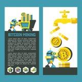 Bitcoin, el cryptocurrency Explotación minera de Bitcoin Ilustración del vector Stock de ilustración