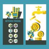 Bitcoin, el cryptocurrency Explotación minera de Bitcoin Ilustración del vector Ilustración del Vector