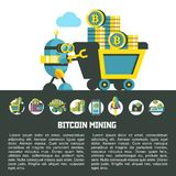 Bitcoin, el cryptocurrency Explotación minera de Bitcoin Ilustración del vector Libre Illustration