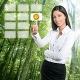 Bitcoin electric consumption and ecology forest. Concept Royalty Free Stock Images