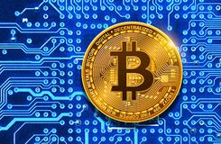 Bitcoin on circuit board. Bitcoin on electronic circuit board royalty free illustration