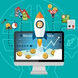 Bitcoin Electronic Crypto Currency Price Rocket Boost on the rise Stock Photos