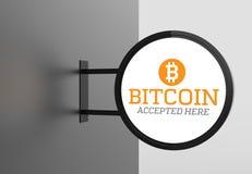 Bitcoin elegante quadro indicador aqui aceitado 3D que ilustra Fotos de Stock Royalty Free
