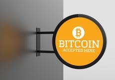 Bitcoin elegante quadro indicador aqui aceitado 3D que ilustra Fotografia de Stock Royalty Free