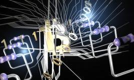 Bitcoin elektroniczny pojęcie, 3d Zdjęcia Stock