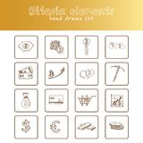 Bitcoin elements hand drawn doodle set. Sketches. Vector illustration for design and packages product. Symbol collection.  Royalty Free Stock Images