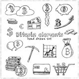 Bitcoin elements hand drawn doodle set. Sketches. Vector illustration for design and packages product. Symbol collection.  Royalty Free Stock Image