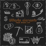 Bitcoin elements hand drawn doodle set. Sketches. Vector illustration for design and packages product. Symbol collection.  Royalty Free Stock Photography