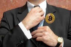 Bitcoin emblem fotografering för bildbyråer