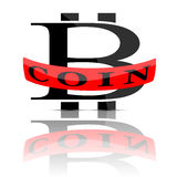 Bitcoin emblem  on white. Vector illustration of bitcoin logo with red ribbon  on white Royalty Free Stock Image