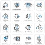 Bitcoin en Blockchain-Crypto de Pictogrammen van de Beschermingstechnologie Stock Afbeeldingen