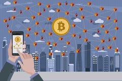 Bitcoin en Blockchain-Netwerk Stock Foto's