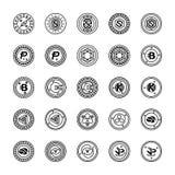 Bitcoin en Cryptocurrency-Pictogrammen royalty-vrije illustratie