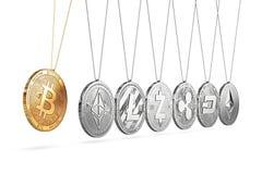 Bitcoin en cuna del ` s de Newton impulsa y acelera otros cryptocurrencies y hacia adelante y hacia atrás stock de ilustración