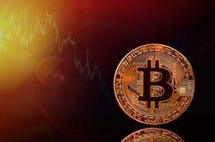 Bitcoin en het nieuwe concept virtueel geld Goud bitcomes met grafiek en digitale achtergrond Gouden muntstuk met de brief van Stock Foto's