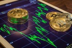 Bitcoin en la tableta con el gráfico de funcionamiento del mercado del precio Fotografía de archivo