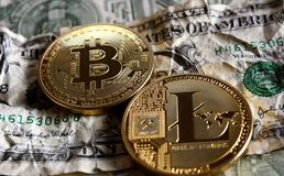 Bitcoin en Litecoin over dollarbankbiljetten Royalty-vrije Stock Foto