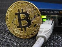 Bitcoin en netwerk Stock Afbeelding
