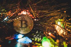 Bitcoin en nieuw jaar Royalty-vrije Stock Foto