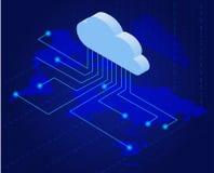 Bitcoin en nuage Bitcoin extrayant le concept plat isométrique de vecteur Technologie de nuage Argent virtuel 3d plat isometry Image libre de droits
