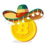 Bitcoin en sombrero mexicano Fotos de archivo libres de regalías
